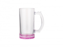 16oz Sublimation Clear Glass Beer Mug (Purple Red Bottom)
