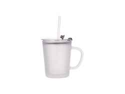 Sublimation 13oz/400ml Glass Mug w/ Lid & Straw (Frosted)